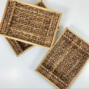Set of 3 Rattan Tray Baskets Stackable